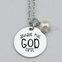 Alw ays koymak tanrı İlk kolye, anahtar zincirleri, kazınmış bakır Charm kolye takı bulguları DIY,22mm,5 adet/grup