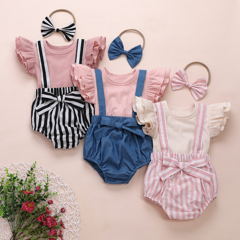 Newborn Baby Girl 6M-3T Clothes Summer Solid Color Knitted Cotton Tops Strap Bib Striped Shorts Headband 3Pcs Outfits Sunsuit