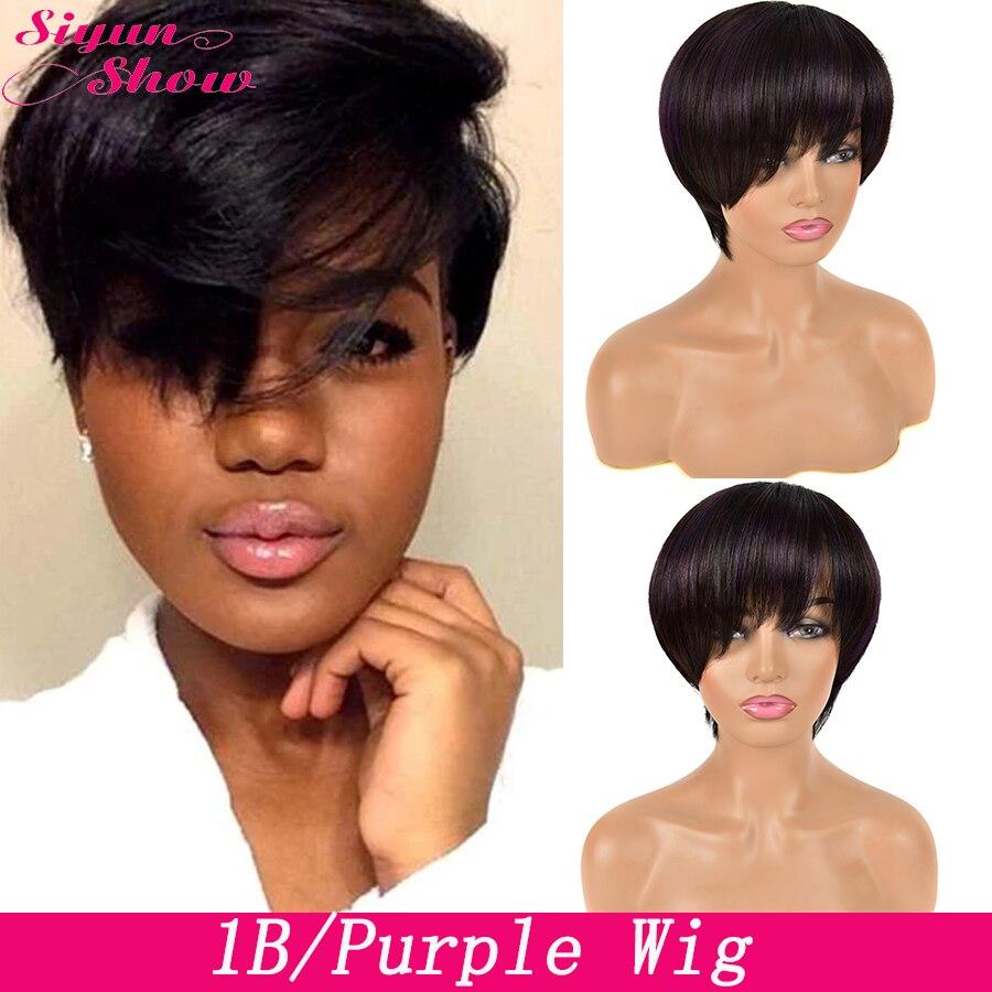 Siyun Show Pixie Cut Wig T1B/Purple Straight Short Bob Wigs For Women Ombre Human Hair Wig Brazilian Hair Wigs Full Machine Wig