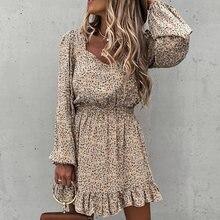 Модное женское Цветочное платье с квадратным вырезом весенне