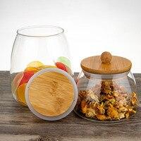 Glas Luchtdichte Containers Voor Voedsel Keuken Meel Container Potten Met Bamboe Houten Deksels