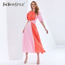 TWOTWINSTYLE Patchwork Hit Color Asymmetrical Summer Dress For Female Puff Sleeve High Waist Hollow Out Dresses Women 2021 New