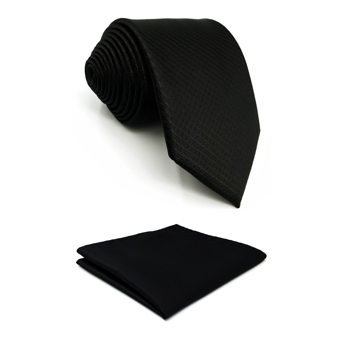 C28 Solid Black Ties For Men Tie Set Pocket Square Necktie