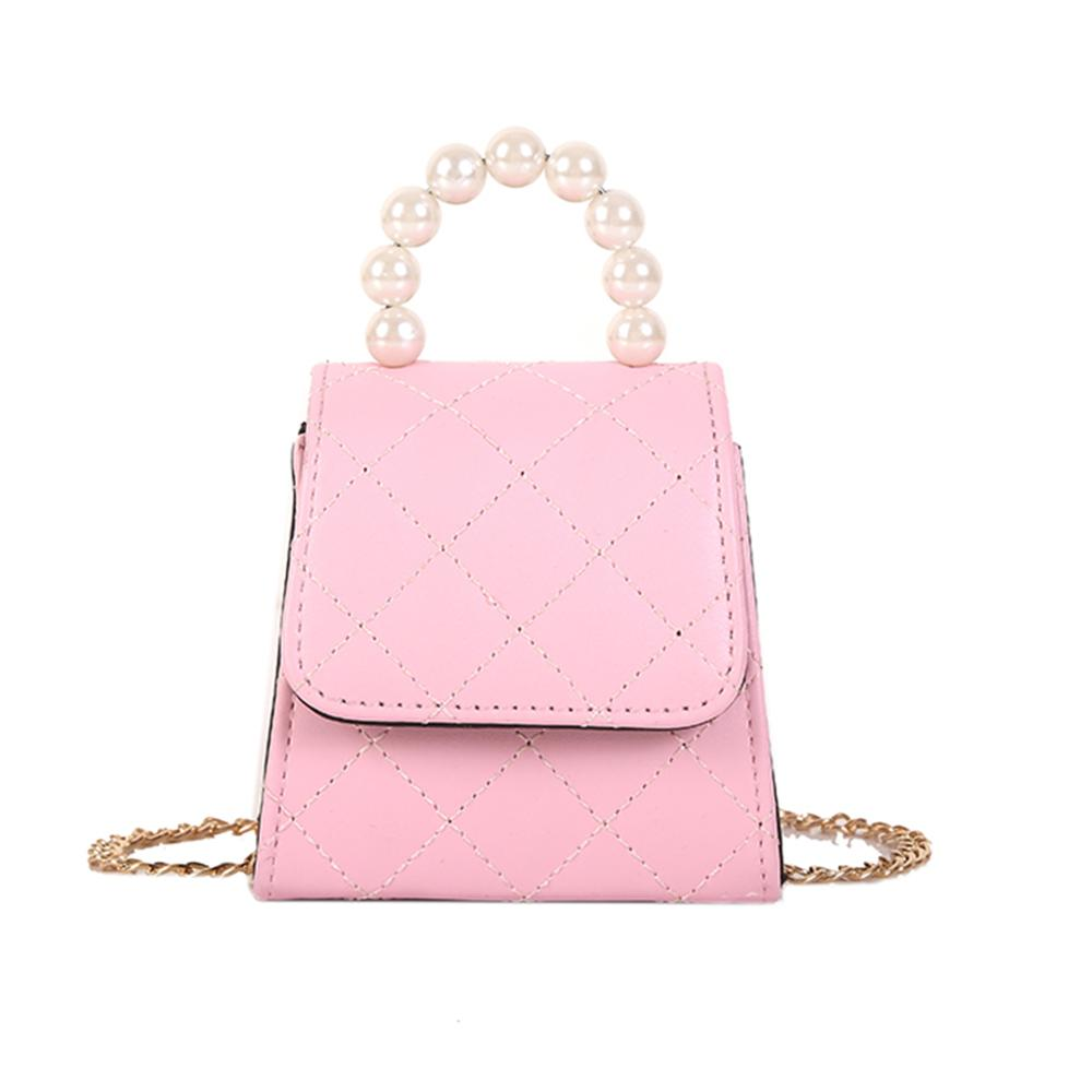 Fashion Ladies Pearls Shoulder Messenger Bag Solid Color PU Leather Handbags Casual Chain Lattice Crossbody Bags For Women 2020