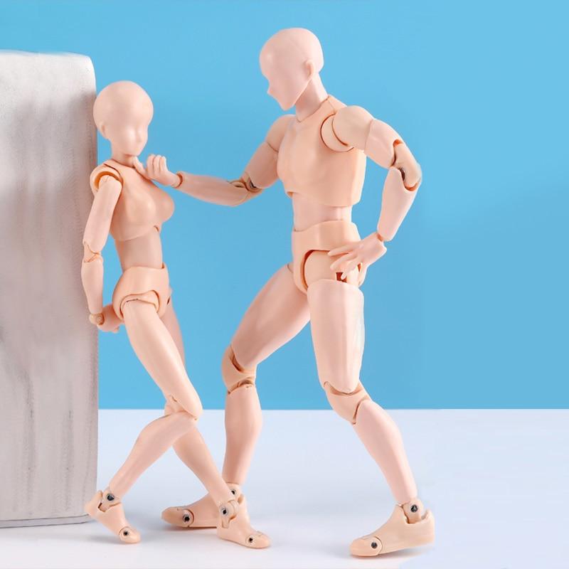 SHF Figures BODY KUN / BODY CHAN Body-chan Body-kun Grey Color Ver. Black PVC Movable Action Figure Drawing Model Toy