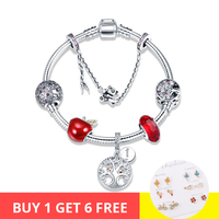 Genuine 925 Sterling Silver tree of Life and red apple charms beads Bracelets Bangles Fashion diy Jewelry making for women gift
