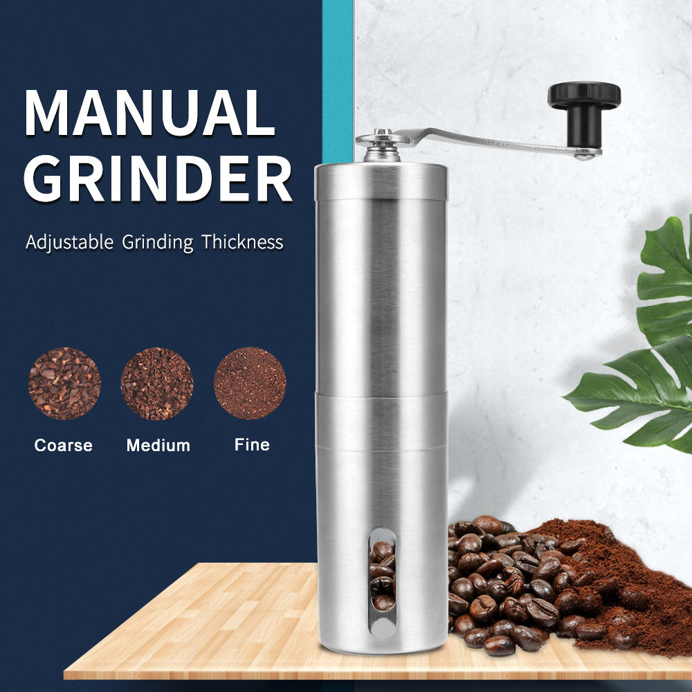 Mill Grinders Burr Coffee-Bean Kitchen-Tool Hand-Manual Silver Stainless-Steel Mini