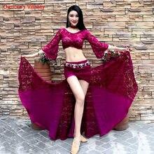 Hiver filles femmes danse du ventre manches évasées haut épissage jupe compétition vêtements de danse dame Oriental indien danse dentelle vêtements