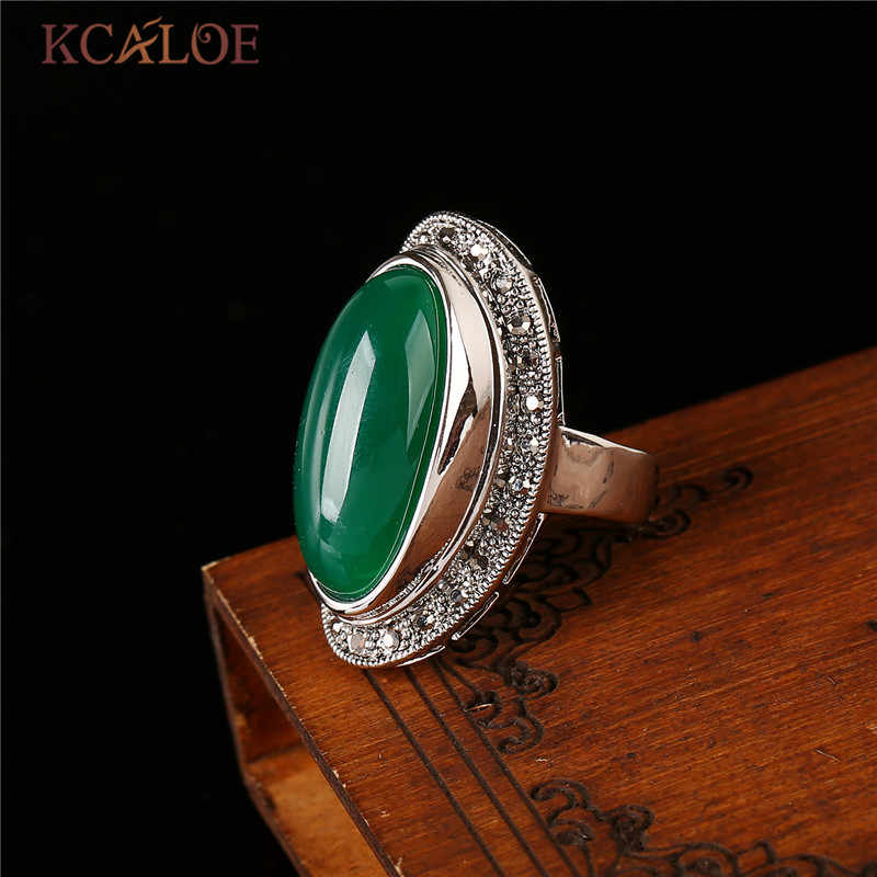 KCALOE Lady ผู้หญิงสีเขียวหินแหวน Charm เครื่องประดับโบราณสีดำ Rhinestone หินธรรมชาติครบรอบแหวน Anillos