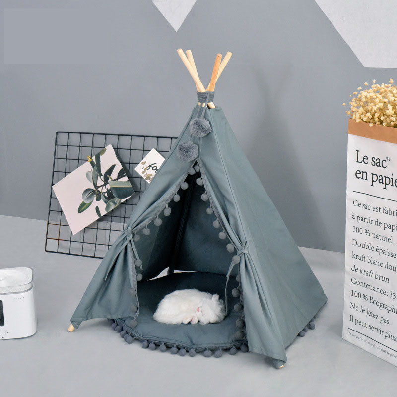 Grey White Canvas PomPoms Pet House Dog Tent Pet Dog House Puppy Cat Dog Tee Pee Dog Tipi Pet Teepee
