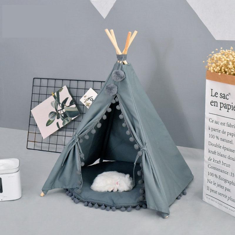 Grey White Canvas PomPoms Pet House Dog Tent Pet Dog House Puppy Cat Dog Tee Pee Dog Tipi Pet Teepee
