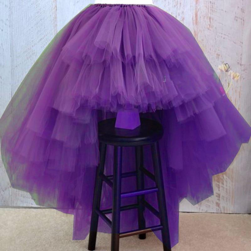Purple Long Skirt High Low faldas Tutu Skirt For Party Puffy Custom Floor Length Woman Skirt Maxi
