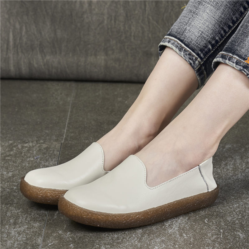 Women Leather Loafers White Casual Shoes For Women Flats Low Heel Slip Lazy Shoes Retro Handmade Genuine Leather Women Moccasin