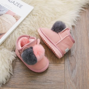Image 4 - DIMI 2020 Winter Baby Girl Boots Rabbit Hair Ball Infant Toddler Cotton Shoes Non slip Warm Plush Child Snow Boots for Girl