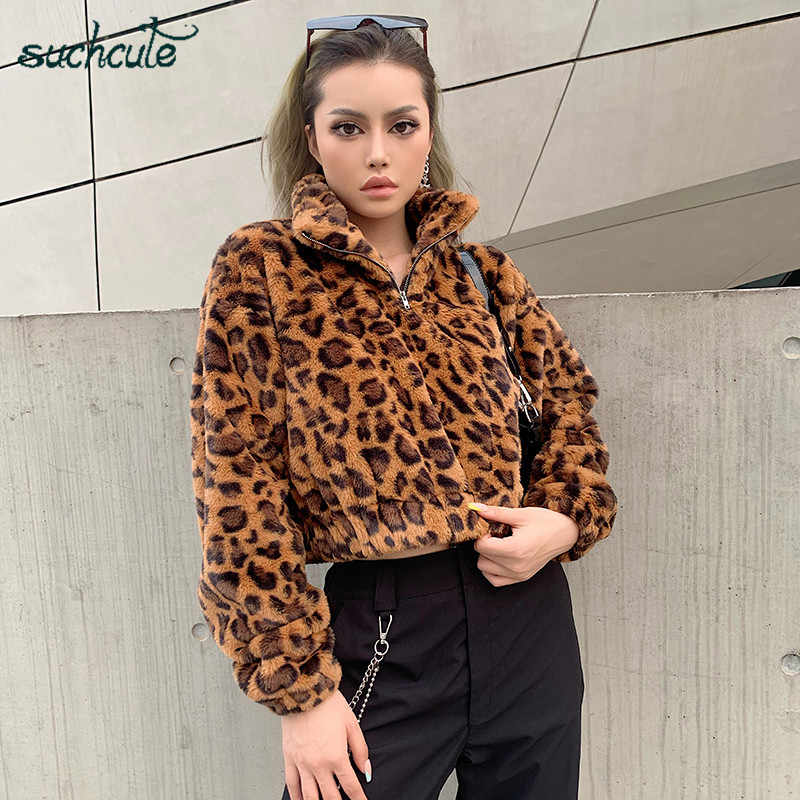 SUCHCUTE Wool Women Fur Jacket Warm Modis Leopard Print Autumn Winter 2019 Sweatshirts Casual Futerko Kurtka Damska Manteau Tops