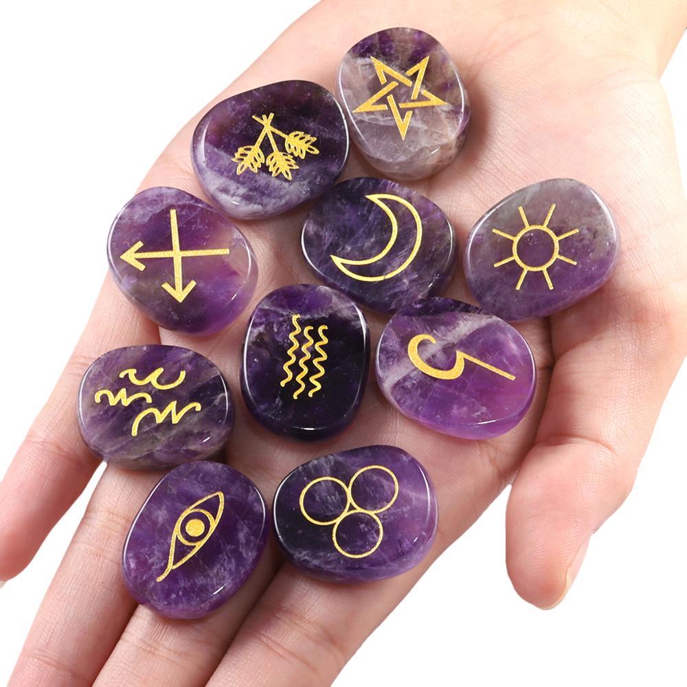 TUMBEELLUWA 1Lot (10Pc) Natural Engraved Gypsy Wiccan Pagan Symbol Rune Set For Healing Reiki Balancing Divination