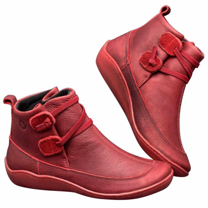 Botas de tobillo planas cómodas para mujer de invierno de gran tamaño con conjuntos de pies botas bajas deportivas botas de mujer 2019 zapatos de señoras de noticias