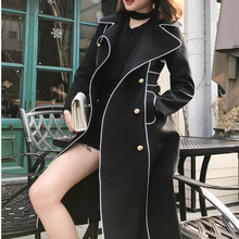 Black double-breasted trench coat women's long casual coat
