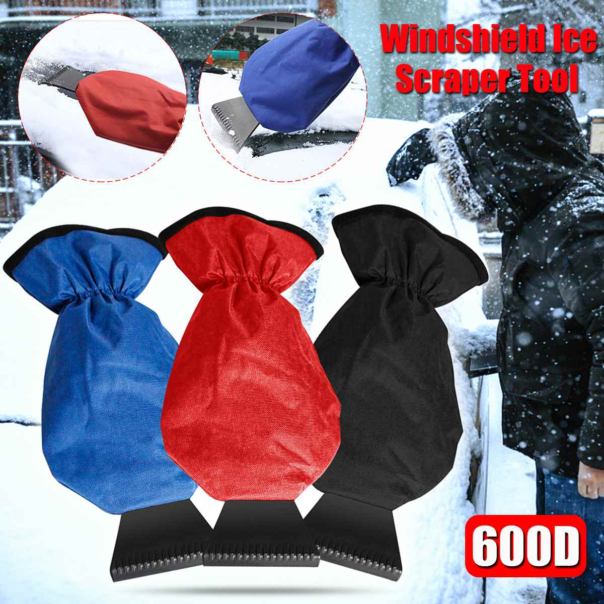 Car Ice Snow Gloves Scraper Waterproof Windshield Glass Snow Shovel Glove Tool Keep Warm Oxford Cloth Snow Removal