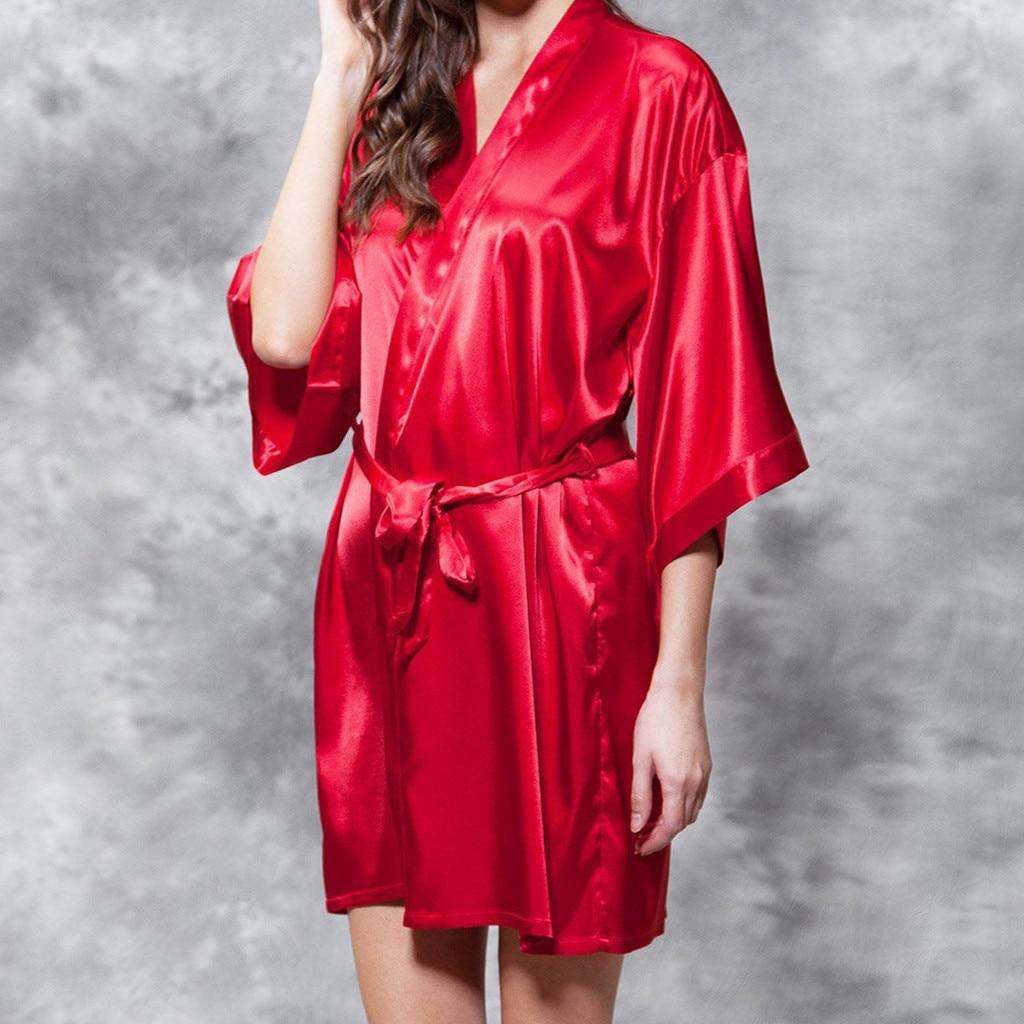 Women New Kimono Robe Bathrobe Women Polyester Bridesmaid Robes Sexy Robes Satin Robe Ladies Dressing Gowns Nuisette#ew