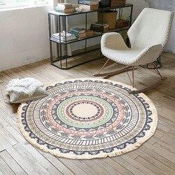Tapis rond en macramé pour salon | Tapis de chambre à coucher bohème, tapis classique en coton et en lin, tapis de prière, tapis tissés à la main
