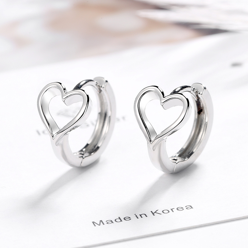 925 Sterling Silver Heart Charm Stud Earring For Women Girl Wedding Gifts Jewelry Pendientes Eh143
