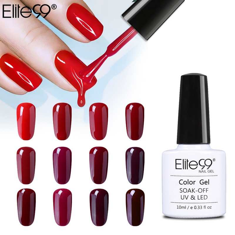 Elite99 10ml Color rojo vino serie esmalte de uñas Semi permanente Gel barniz Soak Off Gel LED UV Lacuqer esmaltes coloridos