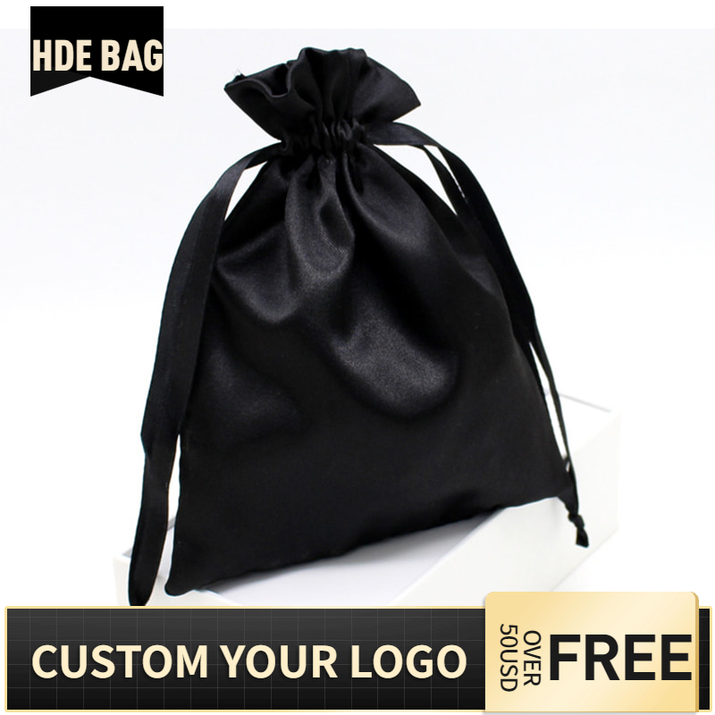 Black Silk Satin Hair Extensions Custom Logo Bag Ribbon Drawstring Shoes Cloth Cosmetic Wigs Storage Packaging Bags  Wholesale
