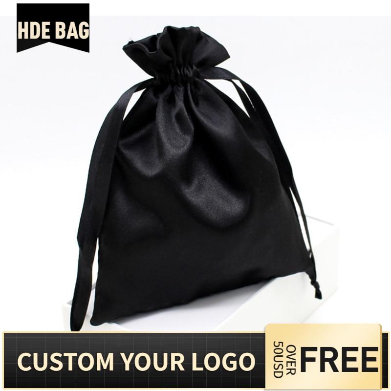 Black Silk Satin Hair Extensions Custom Logo Bag Ribbon Drawstring Shoes Cloth Cosmetic Wigs Storage Packaging Bags  Wholesale