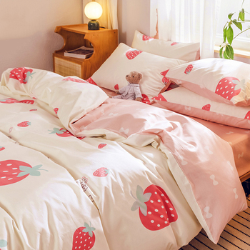 4 pcs/set Fashion Luxury Comforter Bedding Sets Cotton Kawaii Cute Bedding Duvet Cover Pink King Size Flat Bed Sheet for Girls