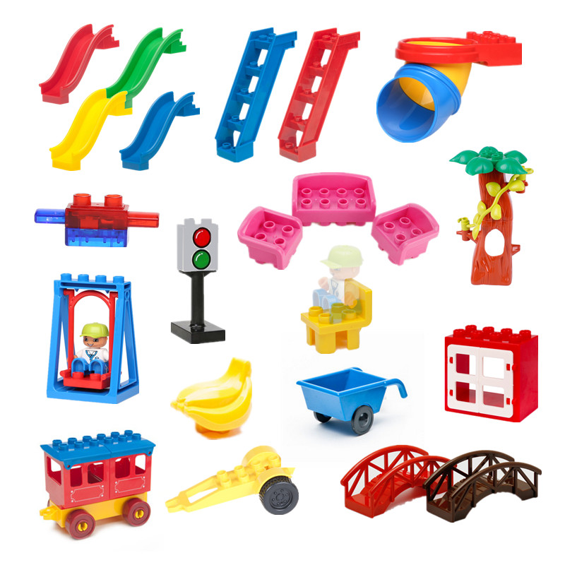 Building Blocks Accessory Baby Assembling Toys Slide Ladder Window Motorcycle Tree Baseplate Compatible