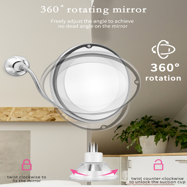 10X LED Mirror Makeup Mirror Flexible Mirror illuminated Magnifying Vanity Mirrors with Light Make up Miroir Bathroom Mirrors 4