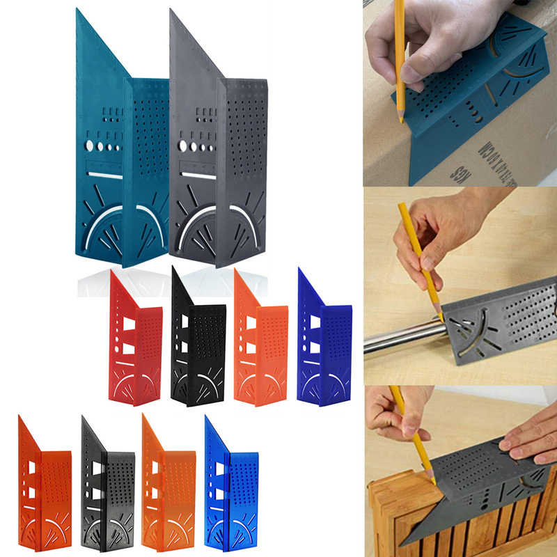 3D 측정 스퀘어 크기 목공 측정 도구 라인 90도 게이지 T 형 통치자 구멍 Scribing 게이지 10 색