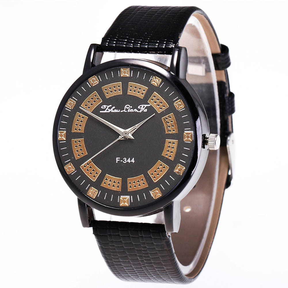 Fashion Quartz Watch Men Women Couple Simple Pattern Electronic Watch With PU Wrist Strap LL@17