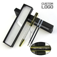 1Set Custom LOGO Metal Gel Pens Student Stationery Crystal Gift Pen Business Office Signature With Black Box