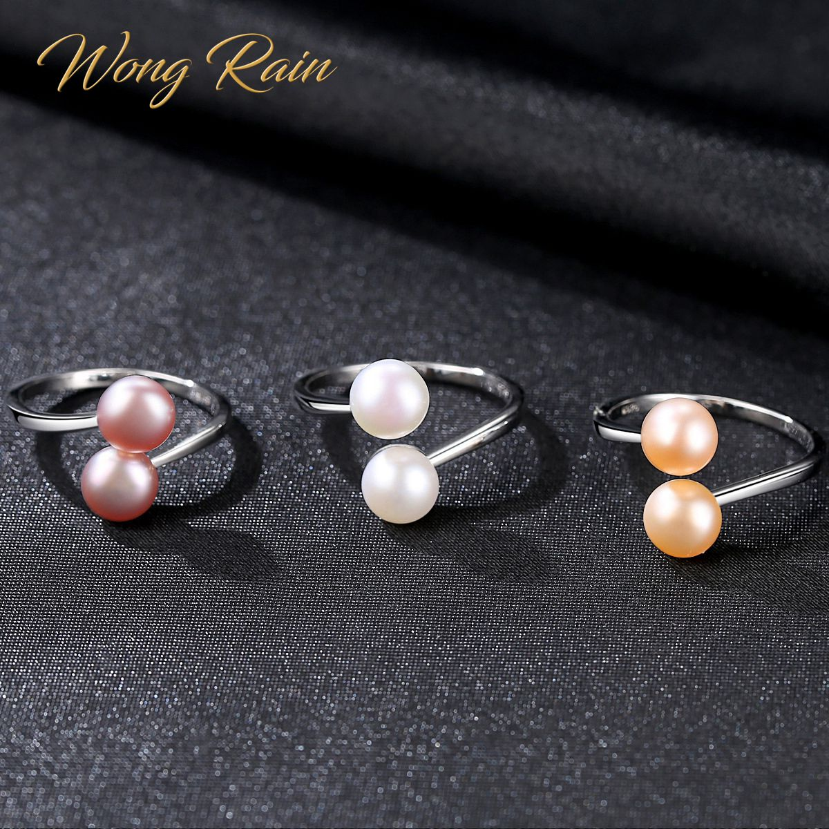 Wong Rain 100% 925 Sterling Silver Natural Freshwater Pearls Gemstone Wedding Engagement Adjustable Opening Ring Fine Jewelry