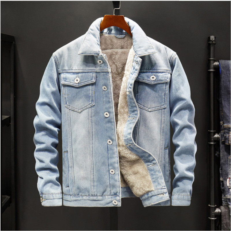 KIMSERE Men's Winter Warm Jean Jackets Fleece Lined Thicken Thermal Denim Trucker Jacket Outerwear Clothing Big Size M-5XL