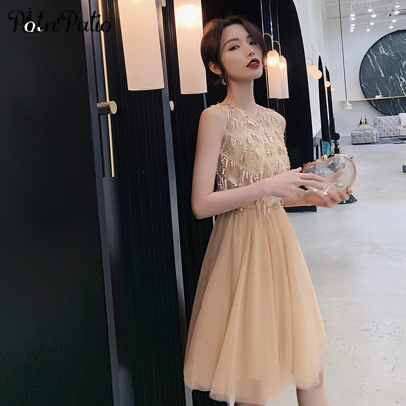 Tassels Tulle Gold Short   Prom     Dresses   2019 O-neck Sleeveless Sexy Sequined Black Girl   Prom     Dresses