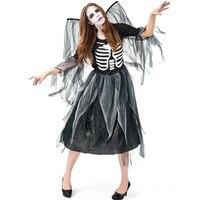 Halloween Carnival Costume Adult Corpse Skeleton Degenerate Dark Angel Dress Women Black Walking Dead Terror Dress with Big Wing