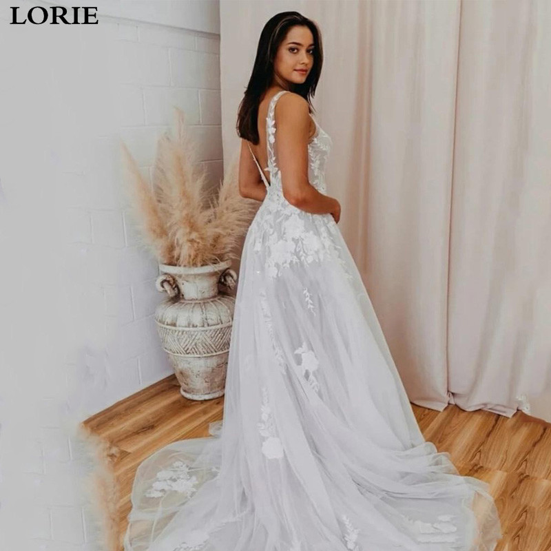 LORIE Boho Wedding Dress A Line Vestidos De Novia V Neck Lace Appliqued Lace Sexy Princess Wedding Bride Dresses
