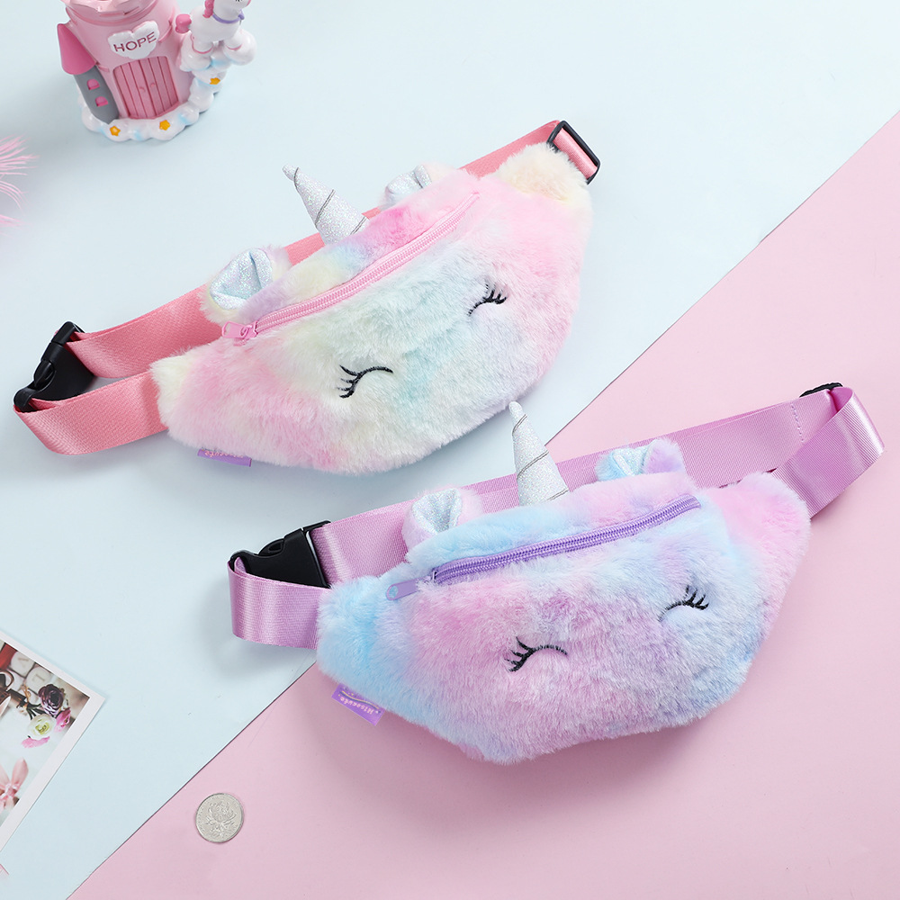 Children's Fanny Pack Women Girls Waist Bag Kids Unicorn Plush Belt Chest Bag Cartoon Coin Purse Cute Girl's Shoulder Bags Nerka