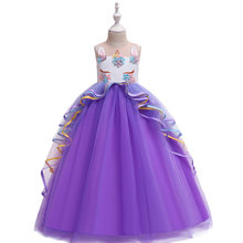 Girls Unicorn Princess Long Dress Cartoon Girls Dresses For Party And Wedding Kids Dress For Girls 10 To 12 Years(China)