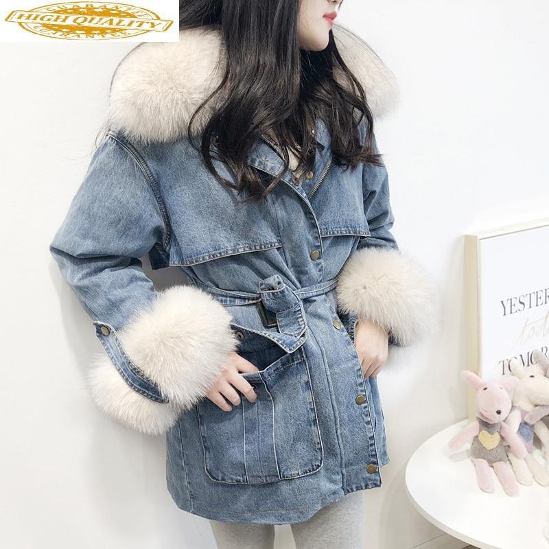 2020 New Winter Denim Jacket Women's Down Jacket Long Parka Womens Coats Winter Korean Fox Fur Collar YY-051 KJ2902