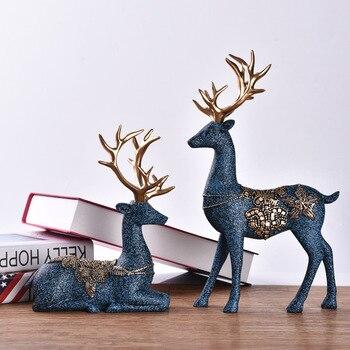 European Ornaments Resin Deer Wine Cabinet Decorations Creative Home Living Room Desk Nordic Crafts Figurines Miniatures