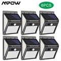 6-Packs 140 LED Solar Licht Im Freien für MPOW Wasserdichte IP65 Grade 3 Beleuchtung Modus PIR Motion Sensor Wand licht für Garten Decor