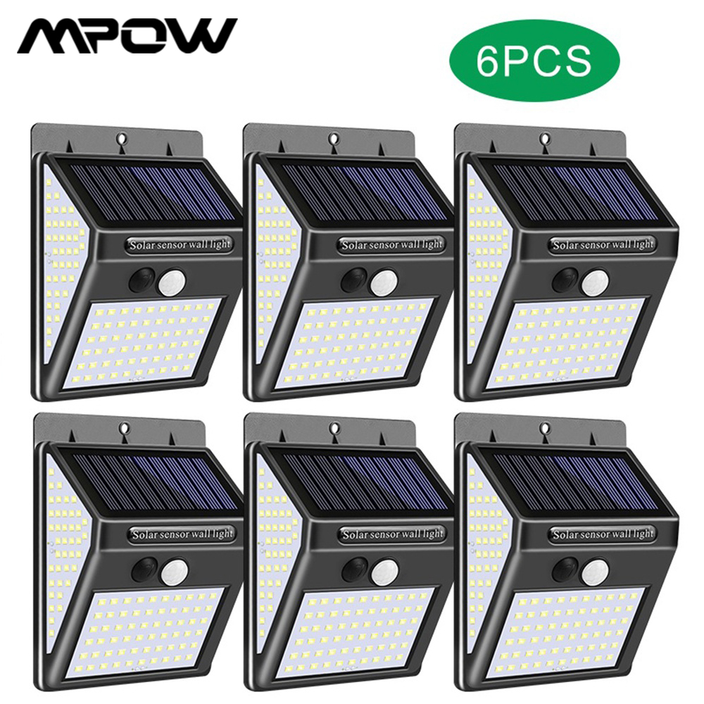 6-Packs 140 LED Solar Light Outdoor For MPOW Waterproof IP65 Grade 3 Lighting Mode PIR Motion Sensor Wall Light For Garden Decor