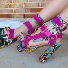 SARAIRIS sexy Block High heels big size 43 platform multi 20 colors snake party Gladiator ankle-stra