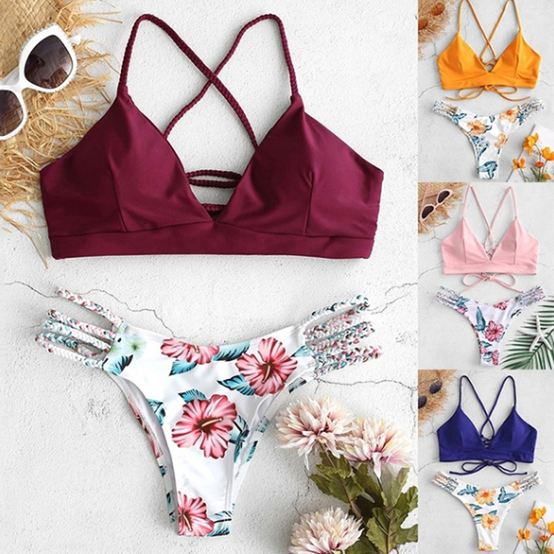 2019 Womens New Sexy Swimsuit Solid Color Split Bikini Set Hand-Woven Rope Bra Print Shorts