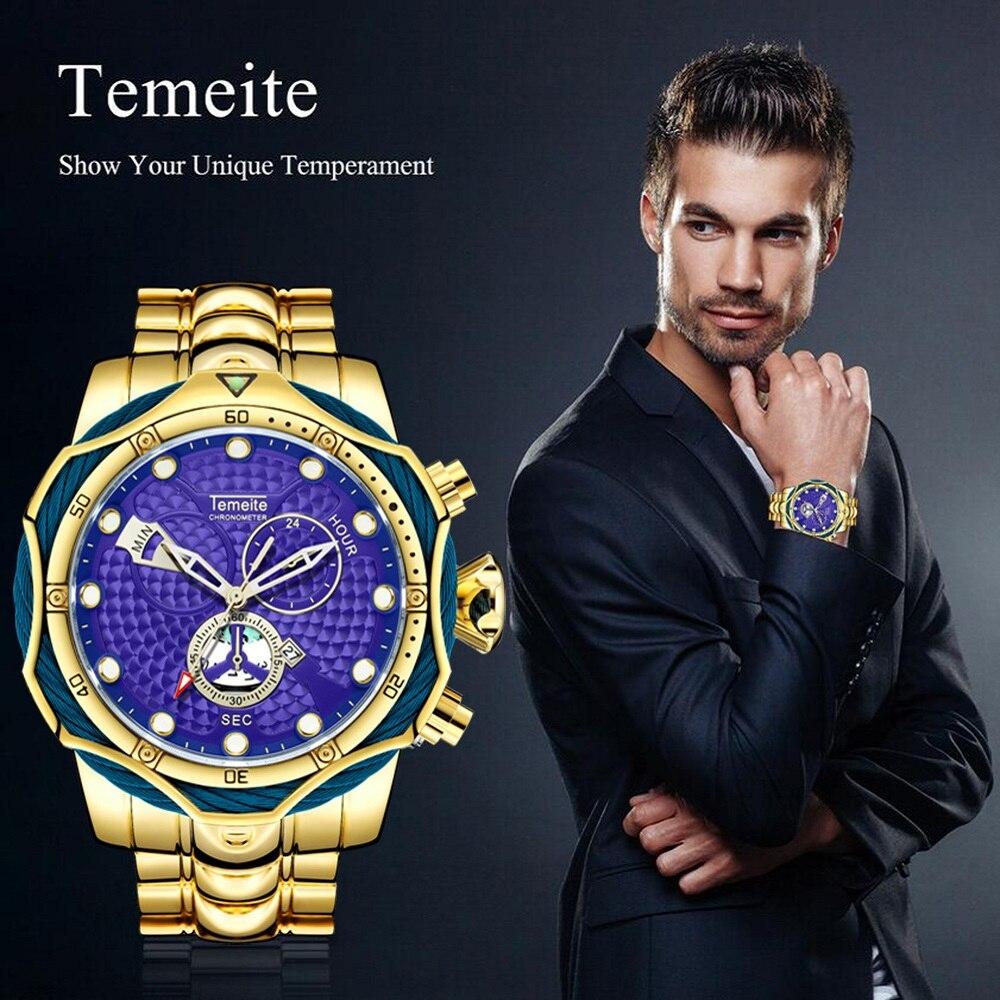 NEW luxury man wristwatches quartz steel TEMEITE brand Men Watches Large dial waterproof calendar decoration Dropshipping