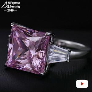 Image 4 - 12*12 ミリメートルプリンセスカットダイヤモンドリングS925 スターリングシルバー罰金結婚式のシトリンサファイアアメジストルビー色のダイヤモンド